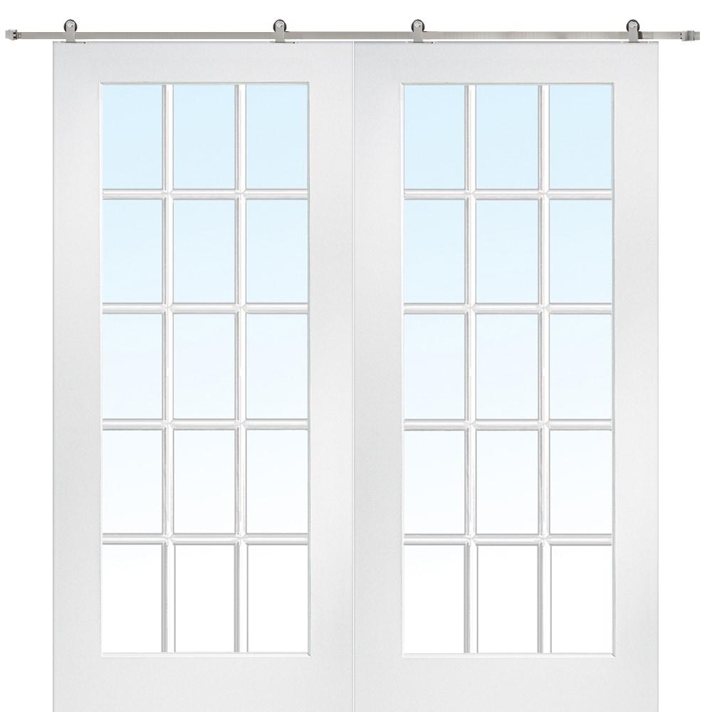 Doorbuild French Double Barn Door With Hardware Kit Mdf 60 X80 Primed Clear 15 Lite Z009627