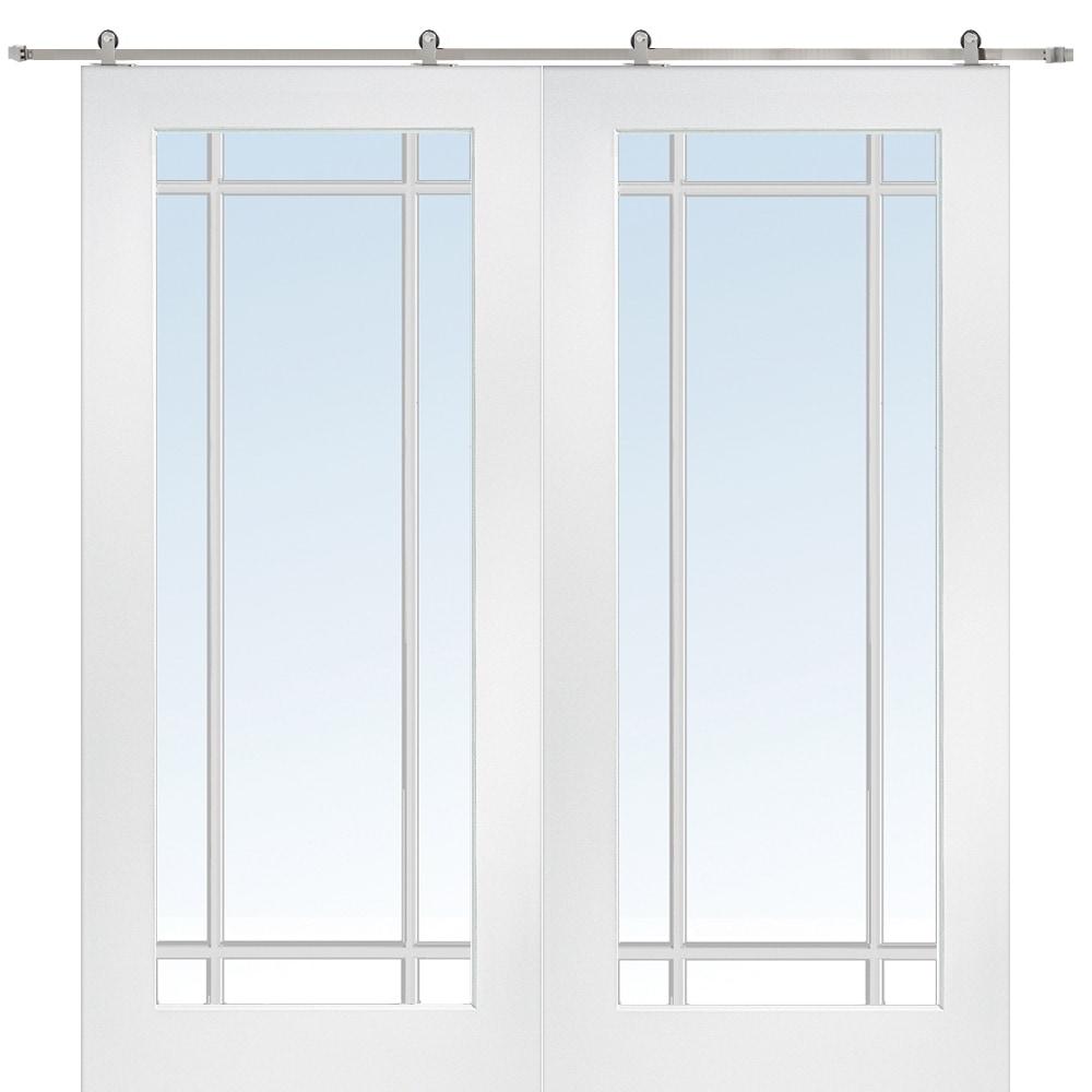 Doorbuild French Double Barn Door With Hardware Kit Mdf 60 X80 Primed Clear 9 Lite Z009635