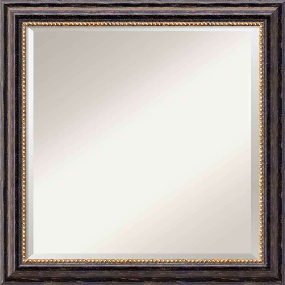 Amanti art tuscan rustic black wall mirror square 24 x for Square mirror