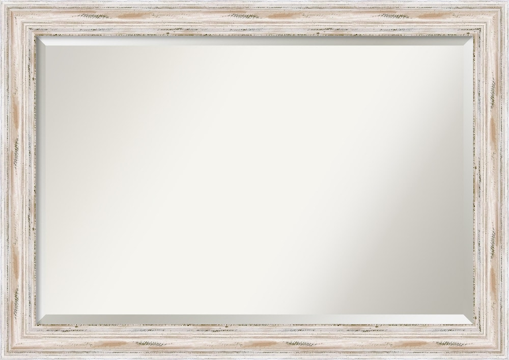 Amanti art alexandria whitewash wall mirror extra large for Large white framed wall mirror