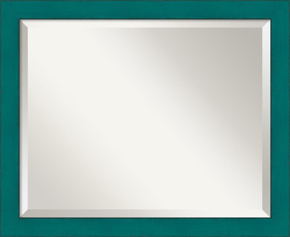 Amanti art french teal rustic wall mirror medium 22 x 18 for Teal framed mirror