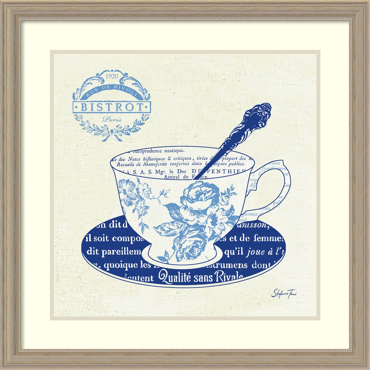 Amanti Art - Stefania Ferri 'Blue Cups I' Framed Art Print 27x27-inch 150540651