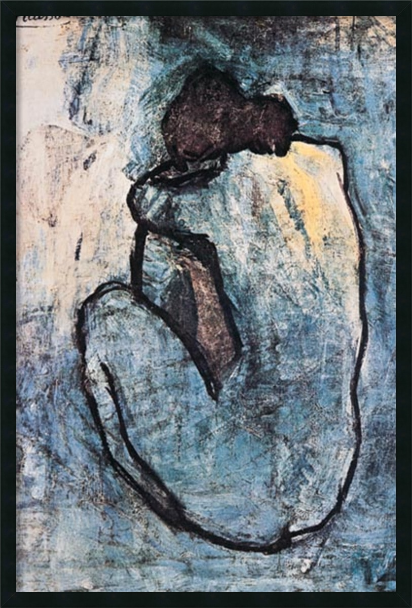 "Amanti Art - Picasso 'The Blue Nude(Seated Nude) 1902' Gel Coated Framed Art 25x37"" 150504711"
