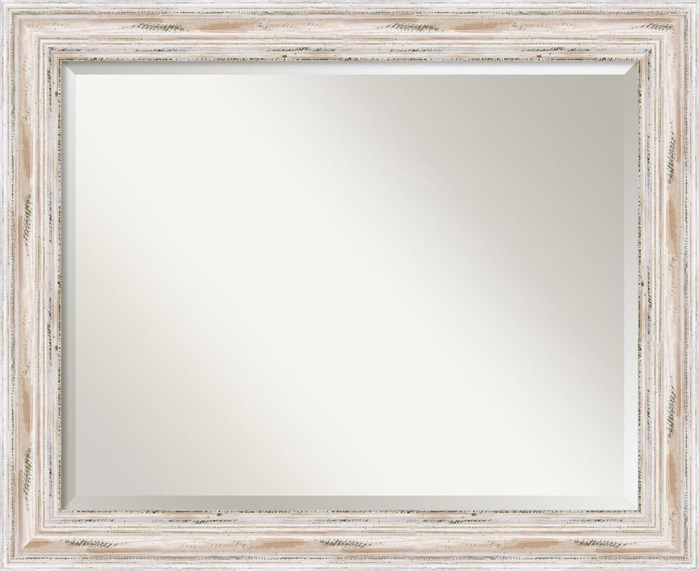 Amanti art alexandria whitewash wall mirror large 33 x for Large white framed wall mirror