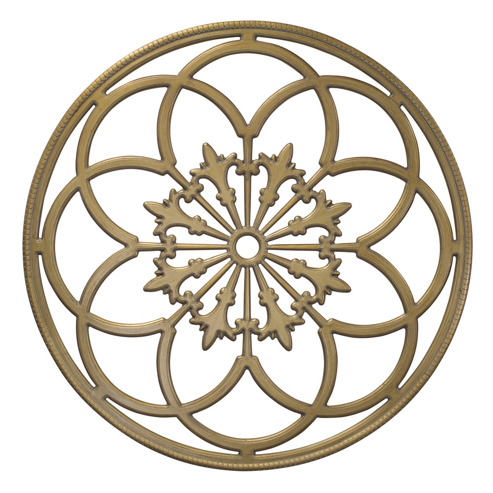 kate and laurel round wood medallion wall art wood wall art 32 diameter gold 208538. Black Bedroom Furniture Sets. Home Design Ideas