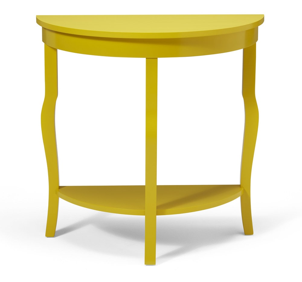Kate and laurel lillian wood half moon console table for Sofa table yellow