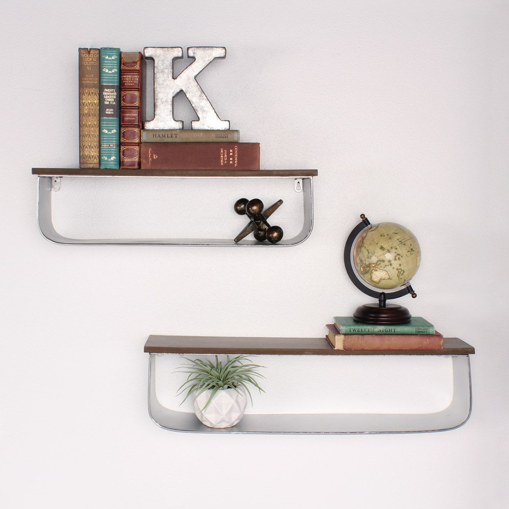 Kate And Laurel Thatcham Wood And Metal Floating Shelf 2