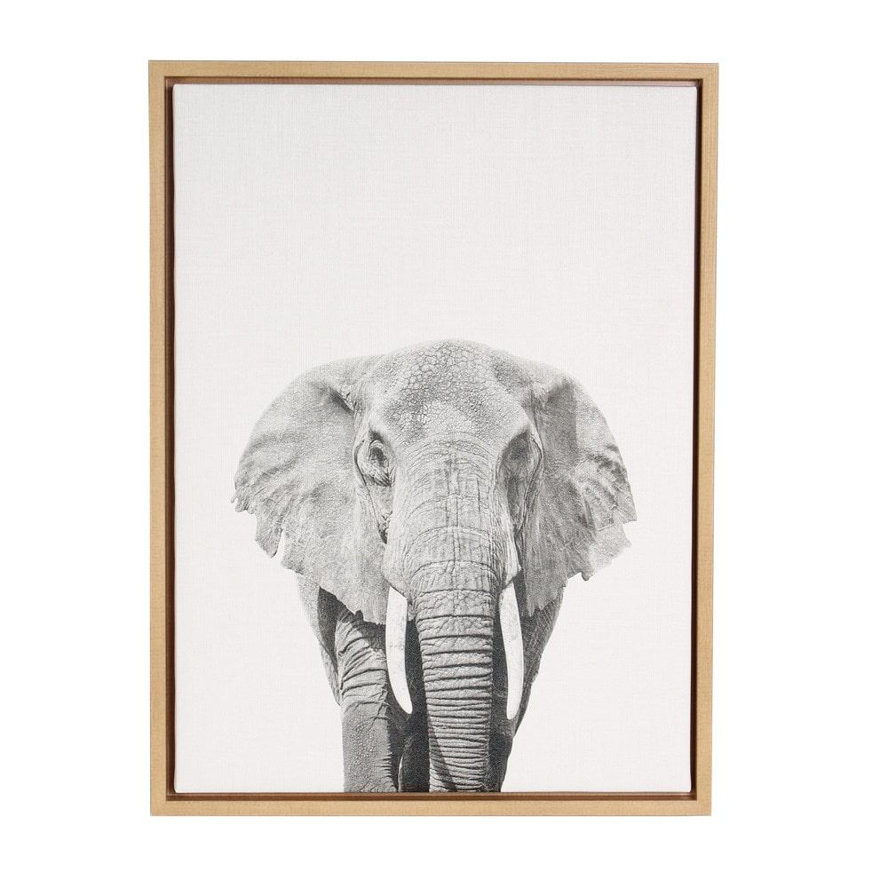Designovation elephant portrait black and white framed for Black wall art