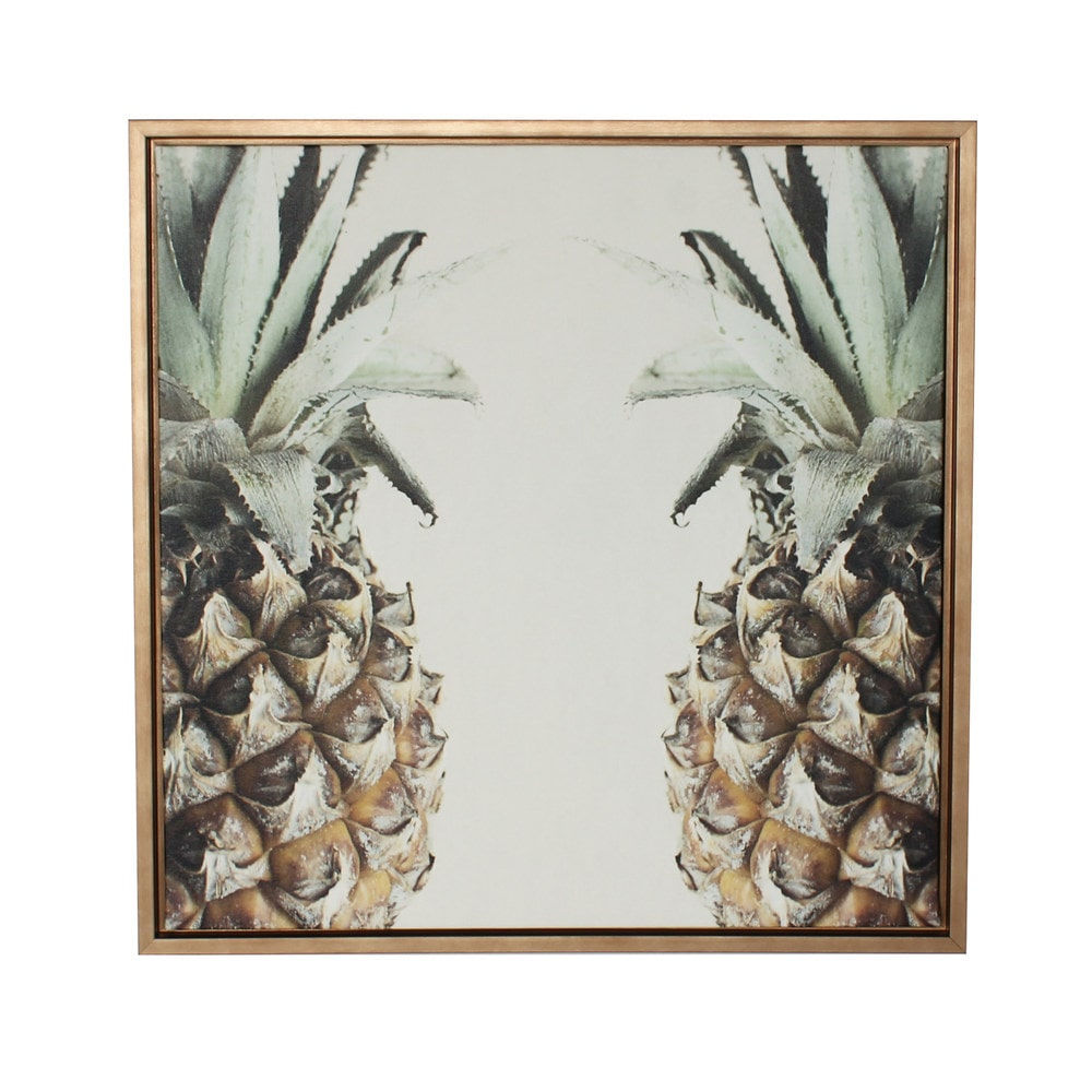 Designovation pineapple gold framed canvas wall art framed for Gold wall art
