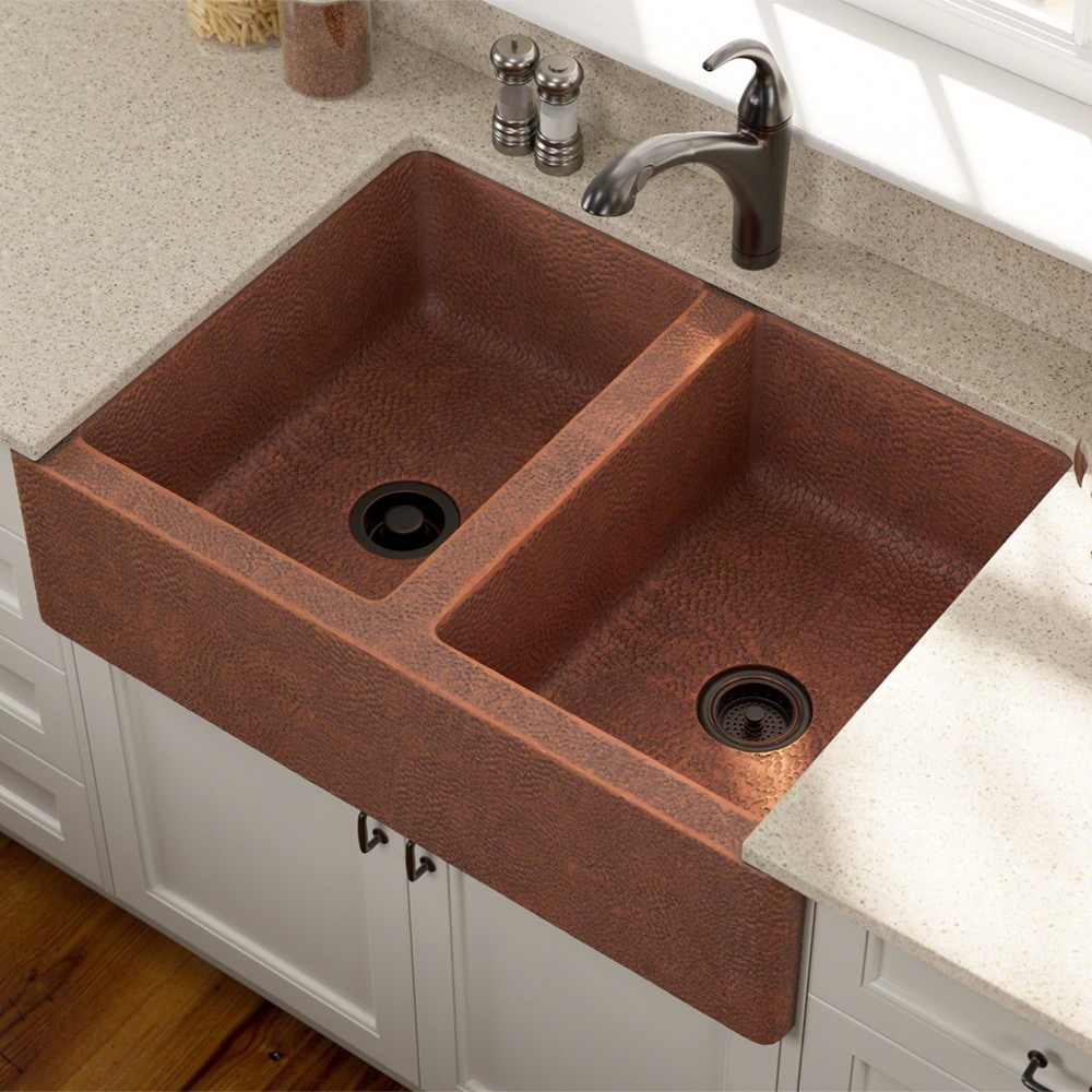 MR Direct Copper Sinks Contemporary / Double Bowl Apron Style / 35 1/8 ...