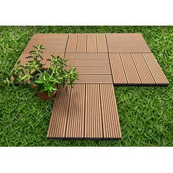 "EP Decking Composite Click lock ing Deck Tiles Mocha 12""x12""x15/16"" Model 151805461 Deck Tiles"