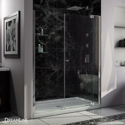 "DreamLine Allure Frameless Pivot Door & SlimLine 34""x60"" Shower Base Type 151278141 Shower Enclosures in Canada"