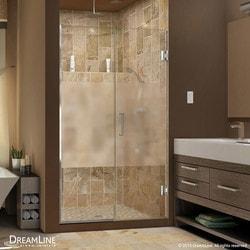 """DreamLine Unidoor Plus 56"""" 56 5""""Wx72""""H Hinged Half Frosted Glass Shower Door Model 151377821 Shower Doors"""