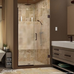 "DreamLine Unidoor Plus 57"" 57 5""Wx72""H Hinged Half Frosted Glass Shower Door Type 151377991 Shower Doors in Canada"