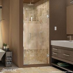 """DreamLine Unidoor Plus 29"""" 29 5""""Wx72""""H Hinged Half Frosted Glass Shower Door Type 151376351 Shower Doors in Canada"""