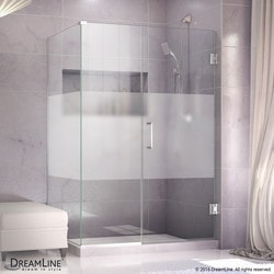 "DreamLine 57 1/2""W x 34 3/8""D x 72""H Hinged Shower Half Frosted Glass Door Type 151055561 Shower Enclosures in Canada"