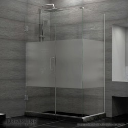 "DreamLine 49""W x 30 3/8""D x 72""H Hinged Shower Half Frosted Glass Door Type 151054521 Shower Enclosures in Canada"