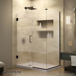 "DreamLine 58""W x 34 3/8""D x 72""H Hinged Shower Half Frosted Glass Door Type 151055671 Shower Enclosures in Canada"