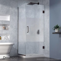"DreamLine 30 3/8""W x 30""D x 72""H Hinged Shower Half Frosted Glass Door Type 151056001 Shower Enclosures in Canada"