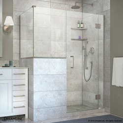 "DreamLine Unidoor X 57""W x 36 375""D x 72""H Hinged Shower Enclosure Model 151061691 Shower Enclosures"
