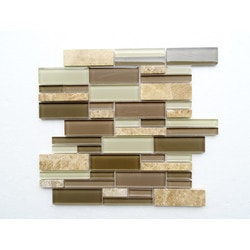 PALMARY Interlocking Series Model 150768941 Kitchen Glass Mosaics
