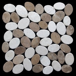 Pebbletile Mosaic Indonisian Marble Cut/ tumbled Model 151276231 Marble Flooring Tiles