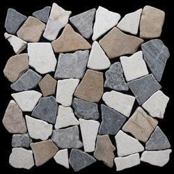Pebbletile Mosaic Indonisian Marble Cut/ tumbled Model 151276461 Marble Flooring Tiles