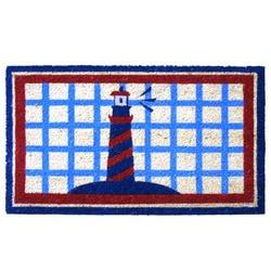 Rubber cal coir door mat rubber cal lighthouse on the for Cape cod door mat