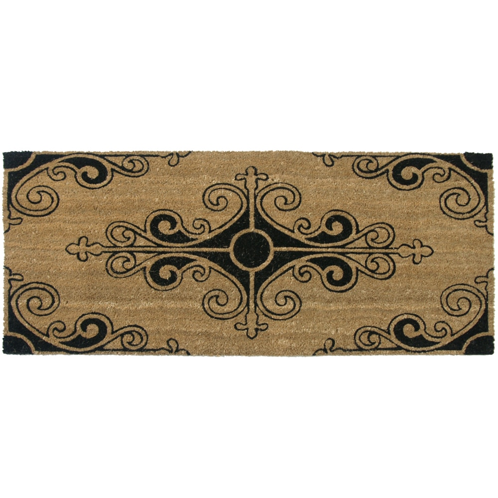 Rubber cal coir door mat rubber cal traditional fleur de lis french mat large front door - Fleur de lis doormat ...