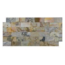 FastStone Peel & Stick Slate Wall Tile Indian Autumn Model 150714651 Kitchen Stone Mosaics