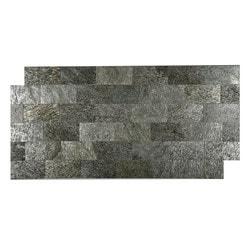 FastStone Peel & Stick Slate Wall Tile Silver Shine Model 150714701 Kitchen Stone Mosaics