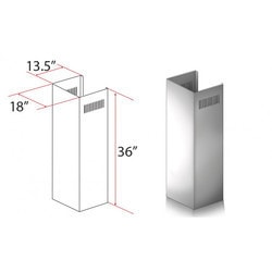 "Zline Kitchen And Bath 1 Pc 36"" Chimney Ext. For 9' To 10' Ceilings For 687"""