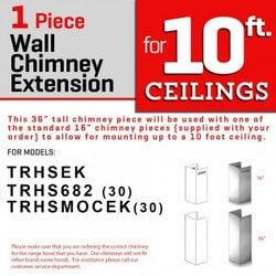 "Zline Kitchen And Bath 1 Pc 36"" Chimney Ext. For 9' To 10' Ceilings For Ke/kecom 30"""