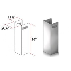 "Zline Kitchen And Bath 1 Pc 36"" Chimney Ext. For 9' To 10' Ceilings For Kecom"