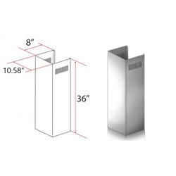 "Zline Kitchen And Bath 1 Pc 36"" Chimney Ext. For 9' To 10' Ceilings For Kf1"""