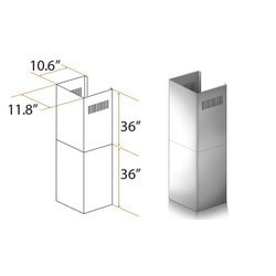 "Zline Kitchen And Bath 2 Pc 36"" Chimney Ext. For 10' To 12' Ceilings For 587/597"""