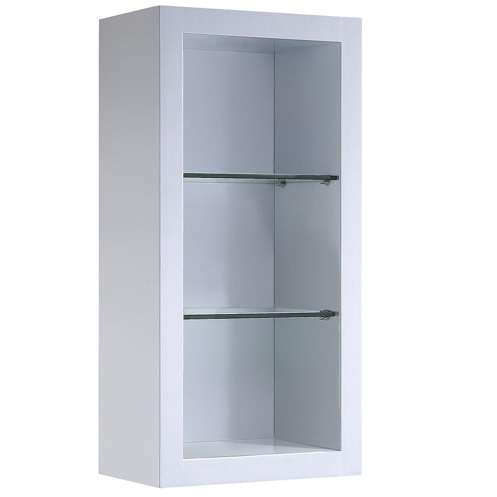 fresca allier bathroom linen side cabinet with 2 glass shelves white