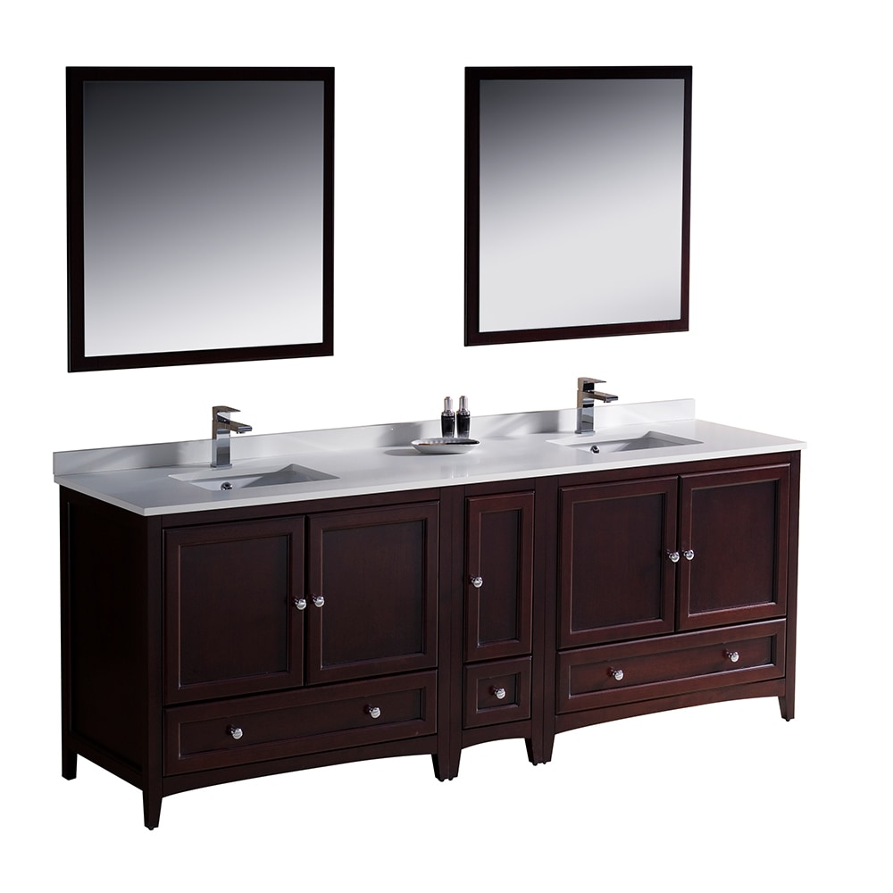 Fresca oxford 84 traditional double sink bathroom vanity white mahogany - Traditional bathroom vanities double sink ...