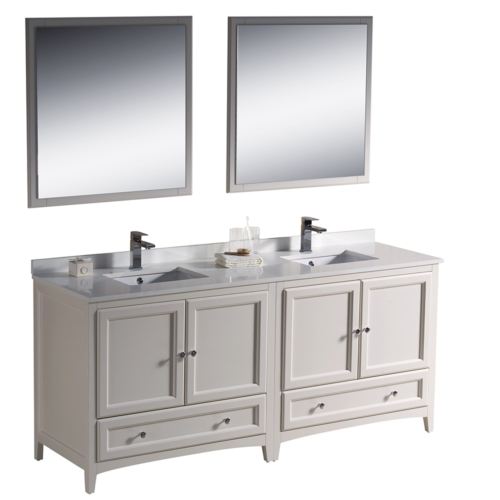 Fresca oxford 72 inch traditional double sink bathroom - Antique white double sink bathroom vanities ...