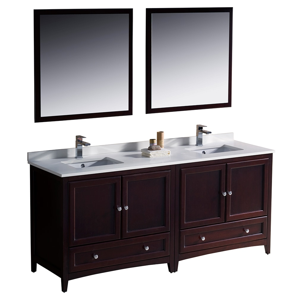 Fresca oxford 72 inch traditional double sink bathroom vanity white mahogany - Traditional bathroom vanities double sink ...