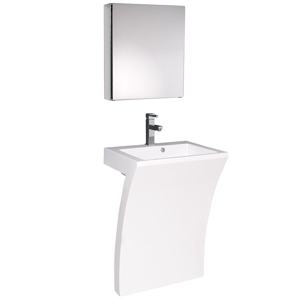 Fresca Quadro Pedestal Sink With Medicine Cabinet Modern