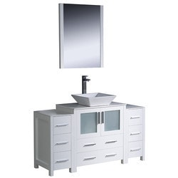 "Fresca Torino 54"" Modern Bathroom Vanity with 2 Side Cabinets Model 151619771 Bathroom Vanities"