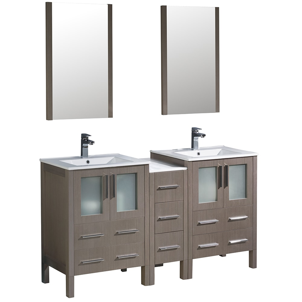 Fresca Torino 60 Modern Double Sink Bathroom Vanity With Side Cabinet Integrated Sinks White