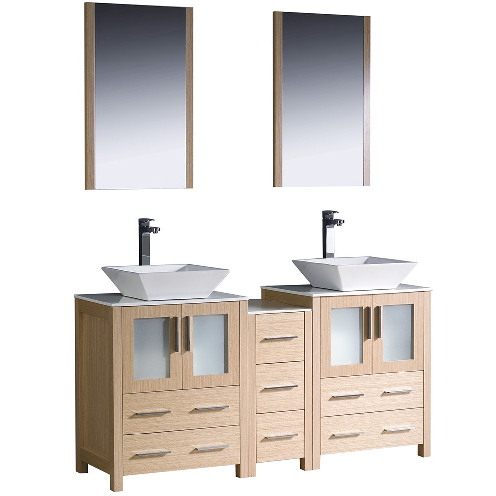 Fresca Torino 60 Modern Double Sink Bathroom Vanity With Side Cabinet V