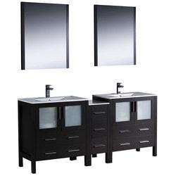 "Fresca Torino 72"" Modern Double Sink Bathroom Vanity with Side Cabinet Type 151620101 Bathroom Vanities in Canada"