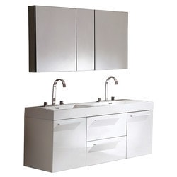 Fresca Opulento Modern Double Sink Bathroom Vanity with Medicine Cabinet Model 151620941 Bathroom Vanities
