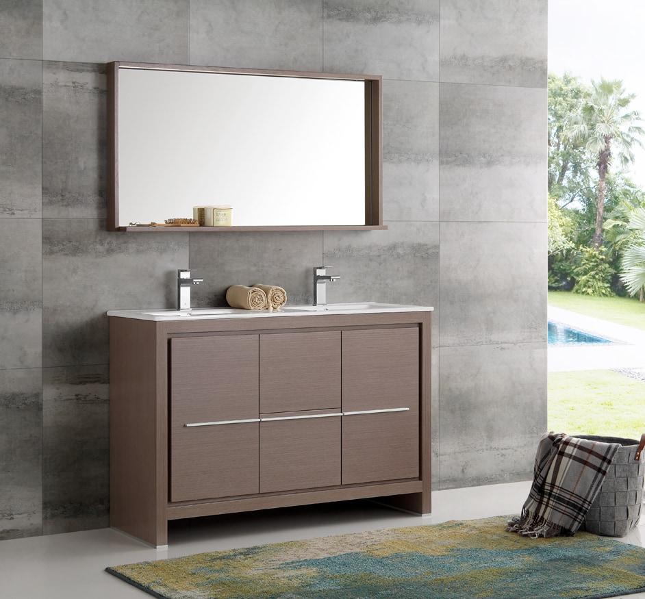 Fresca Allier 48 Modern Double Sink Bathroom Vanity With Mirror White