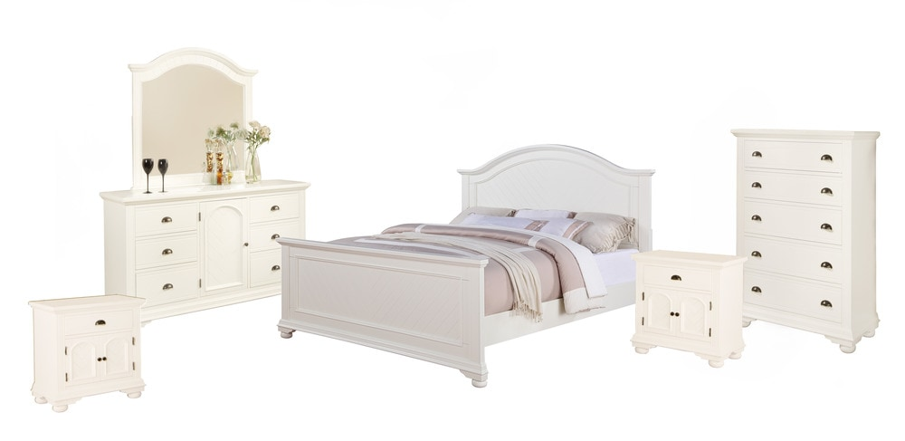 Picket House Furnishings Addison Bedroom Collection King Size Bedroom Set 6 Pc White