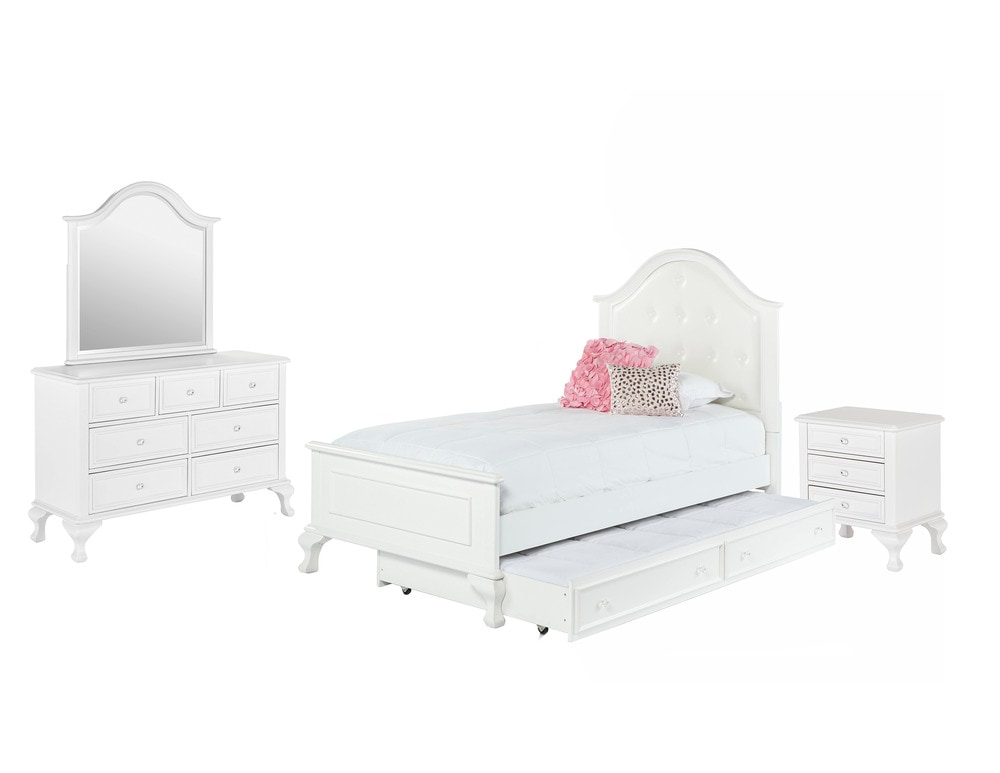 Picket house furnishings jenna bedroom collection twin size bed with trundle bedroom set 4 pc White twin trundle bedroom set