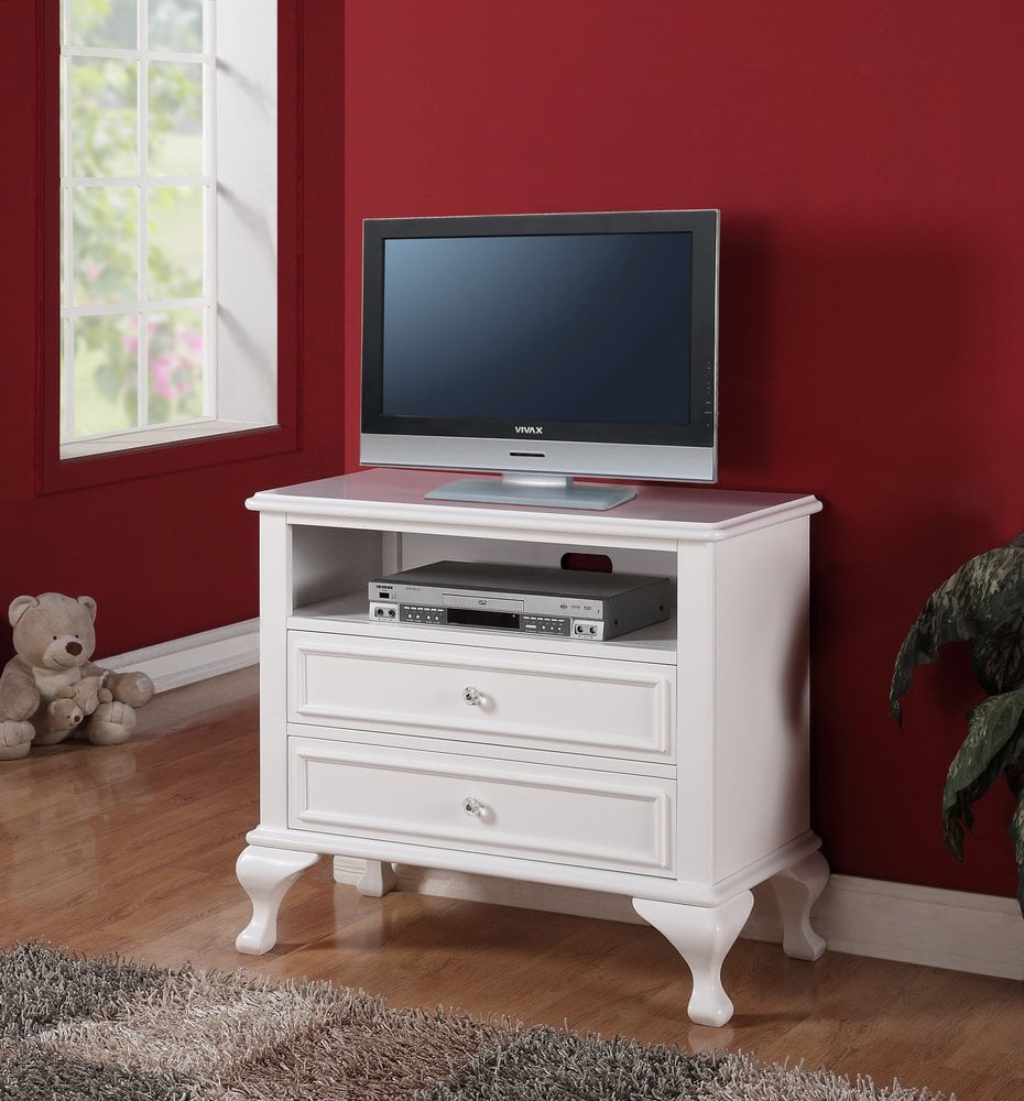 Picket house furnishings jenna bedroom collection media chest 1 pc white js700tv for White media chest for bedroom